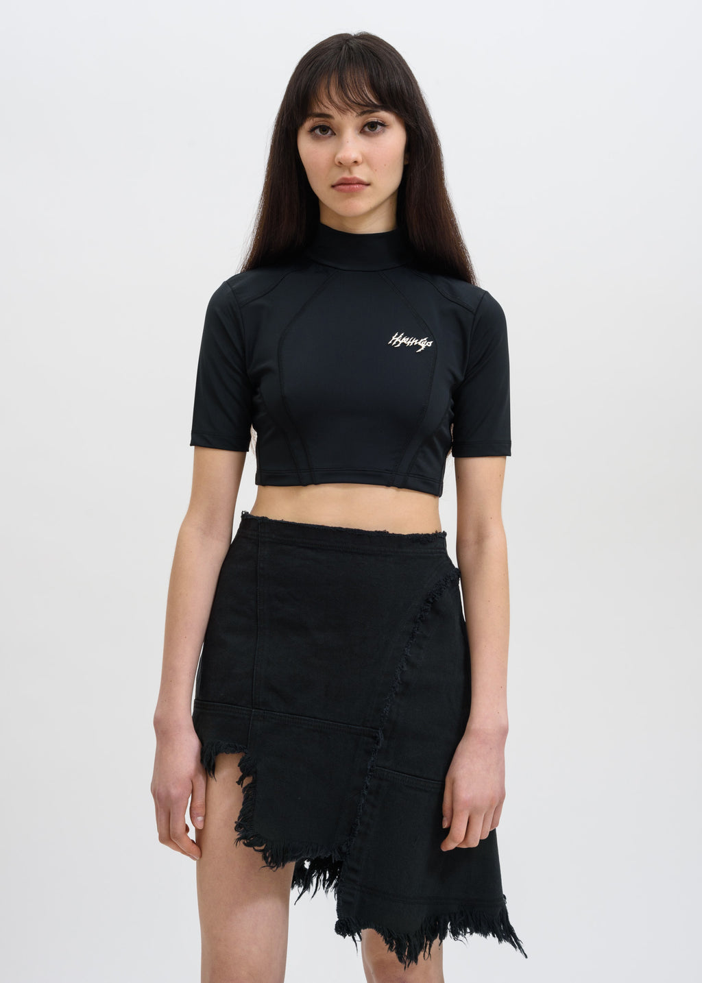 Hyein Seo, Black Metal Logo Crop Top, 017 Shop