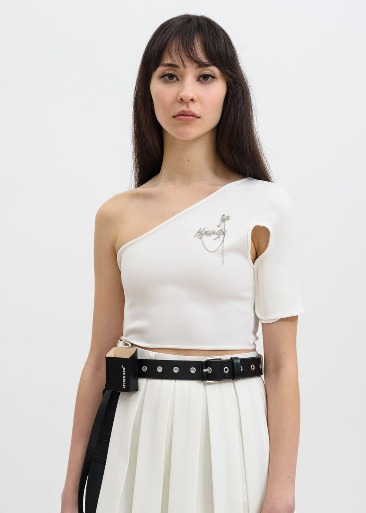 White Asymmetric Velcro Top