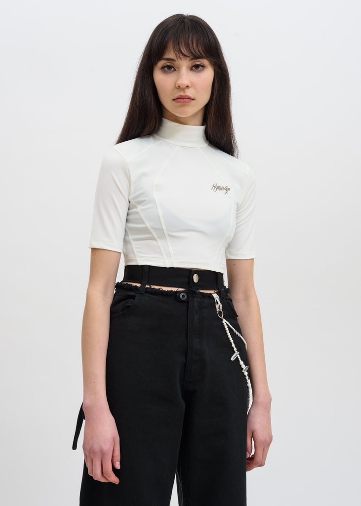 White Metal Logo Crop Top