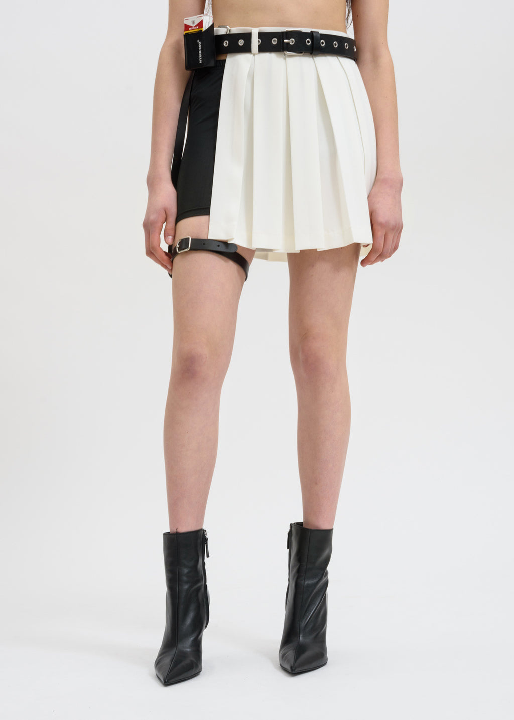 White Pleated Skirt w/ Garter Belt