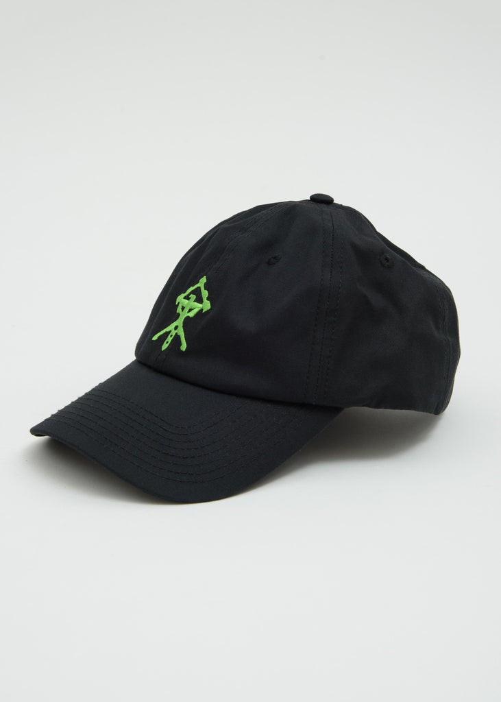 Black Lime Green Embroidery Cap
