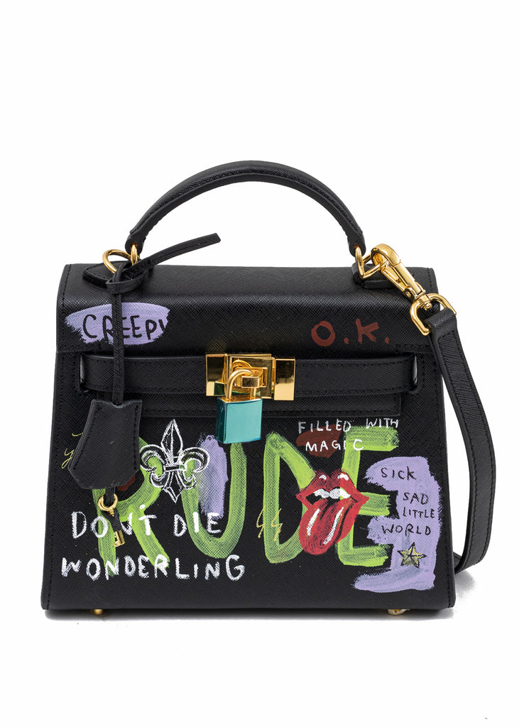 Black Paint Candy Leather Bag -Rolling Stone
