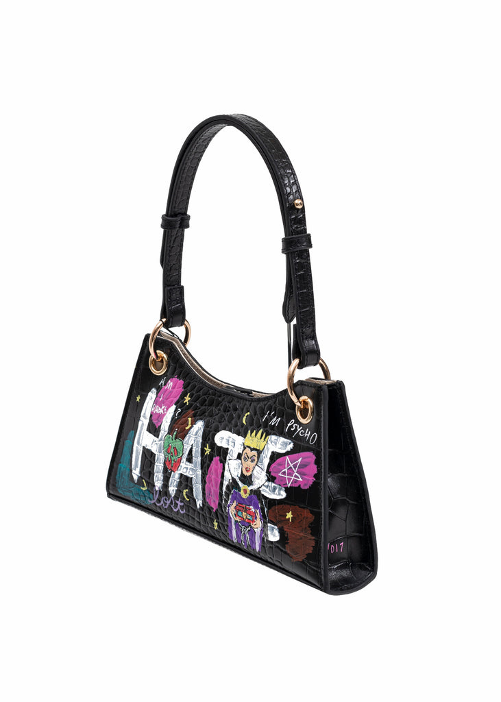 Black Paint Minny Leather Bag -Evil Queen