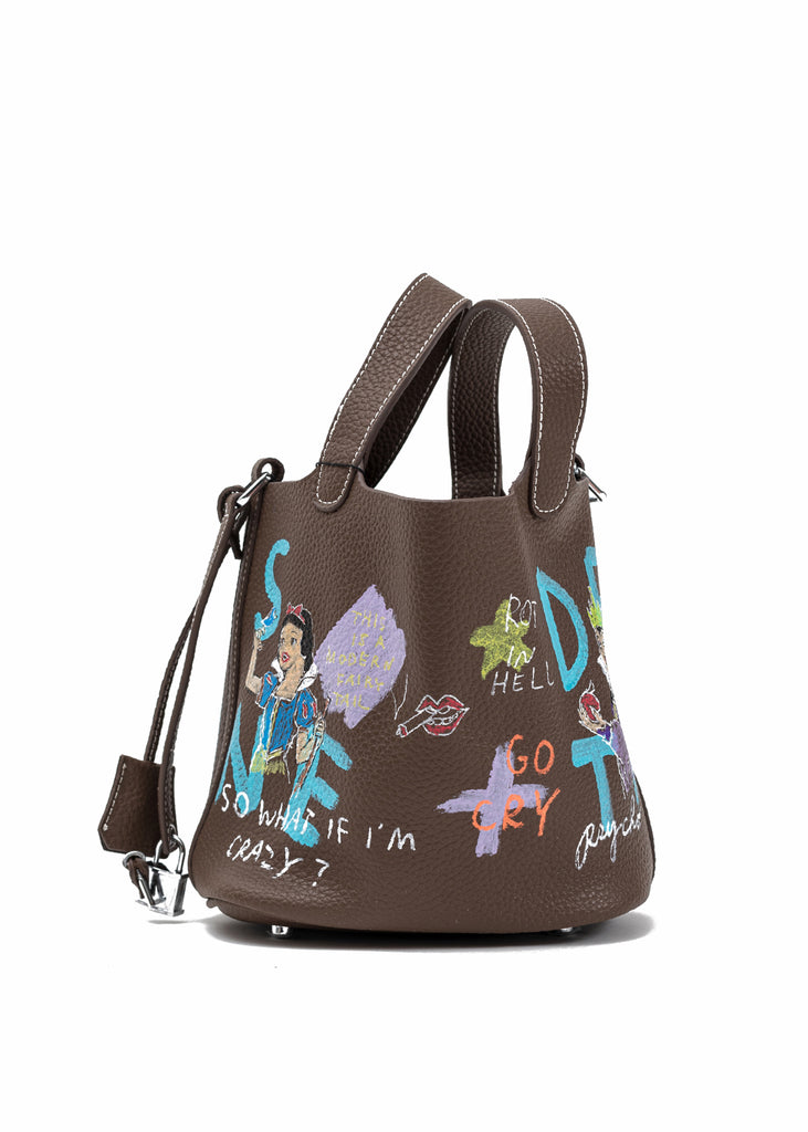 Brown Paint Cube Bag (Small) -Snow White, Evil Queen