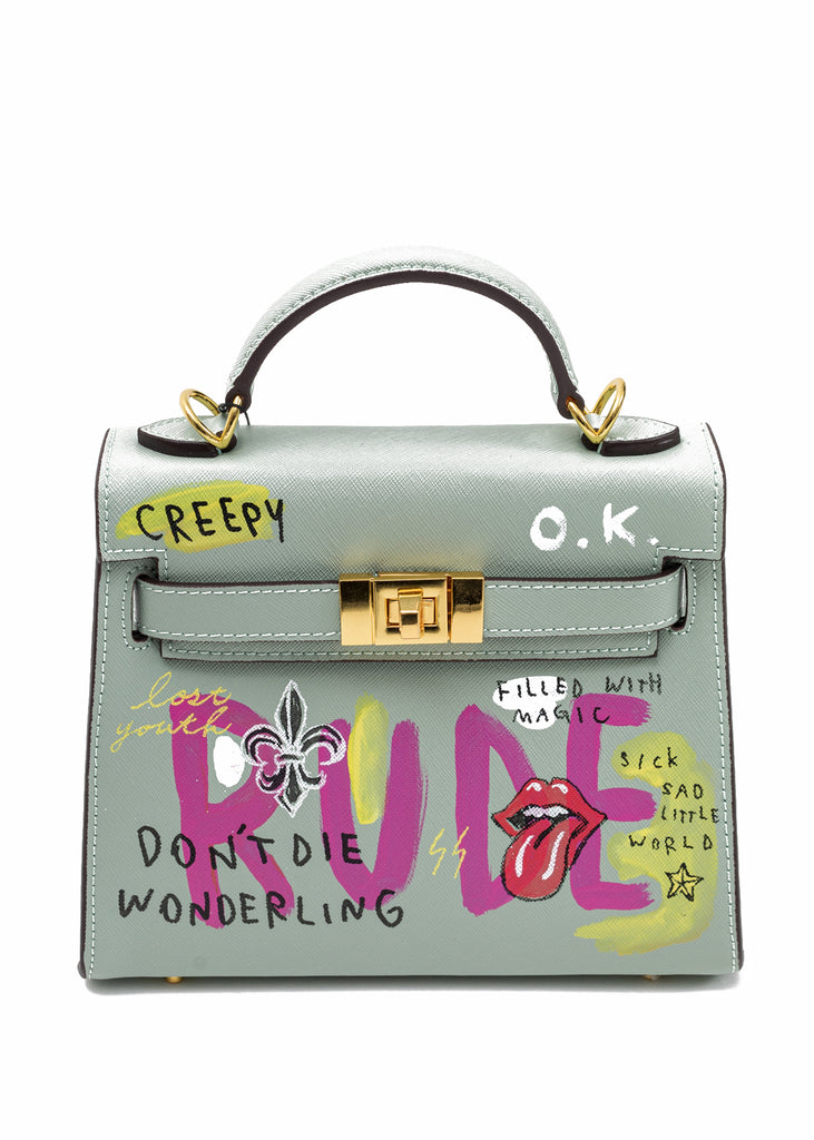 Green Paint Candy Leather Bag -Rolling Stone