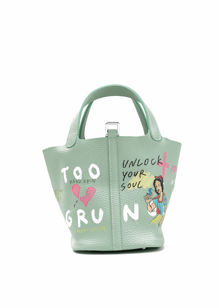 Green Paint Cube Bag (Small) -Snow White,Little Mermaid (Pre-Order)