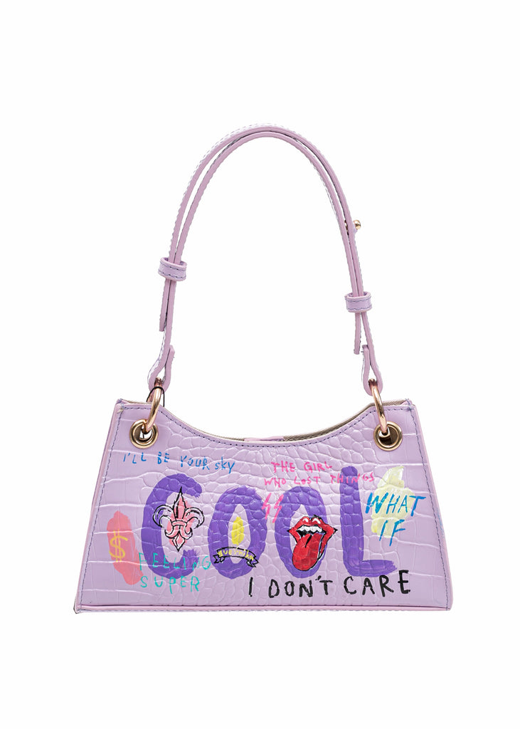 Purple Paint Minny Leather Bag -Rolling Stone