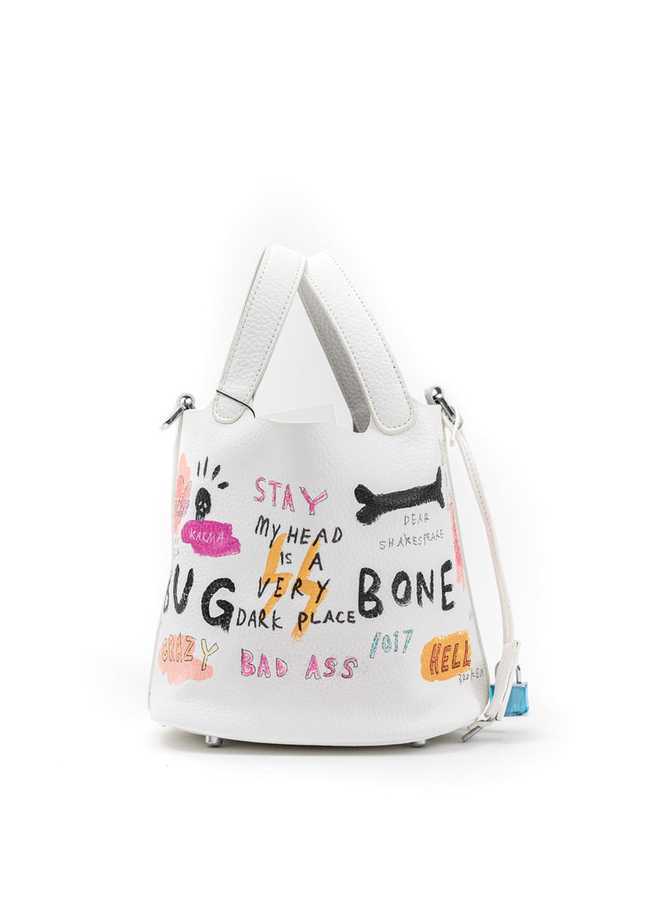 White Paint Cube Bag (Small) -Bone,Skull