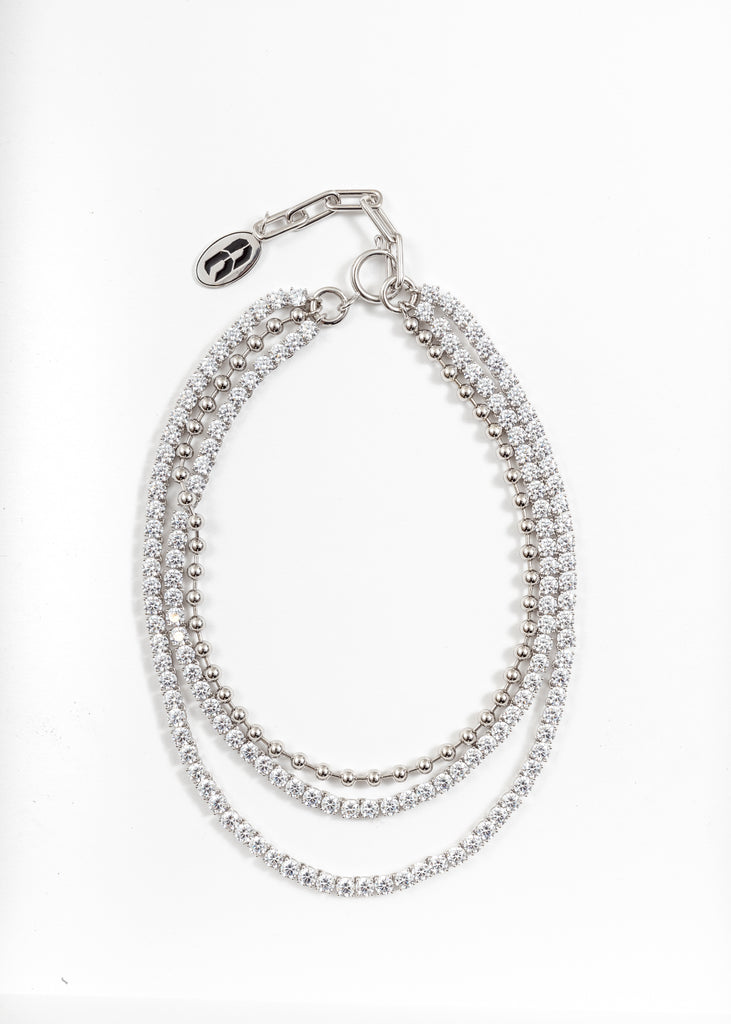 Rhinestone And Ball Link Necklace