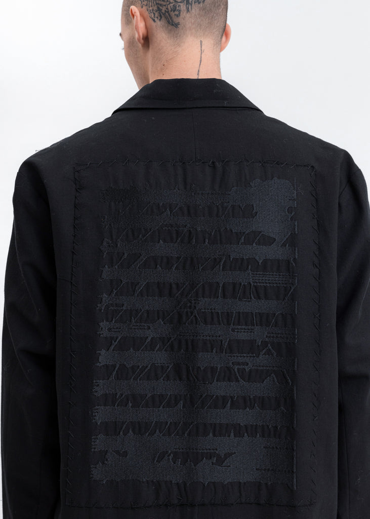 Black 'SCORE' Embroidered Patch Blazer