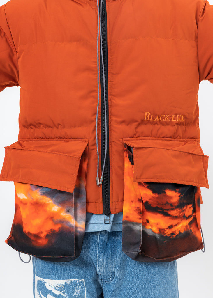 Brown Down Jacket With SUNSET Print Pockets