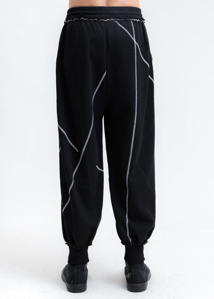 Black Stitch Detail Lounge Pants