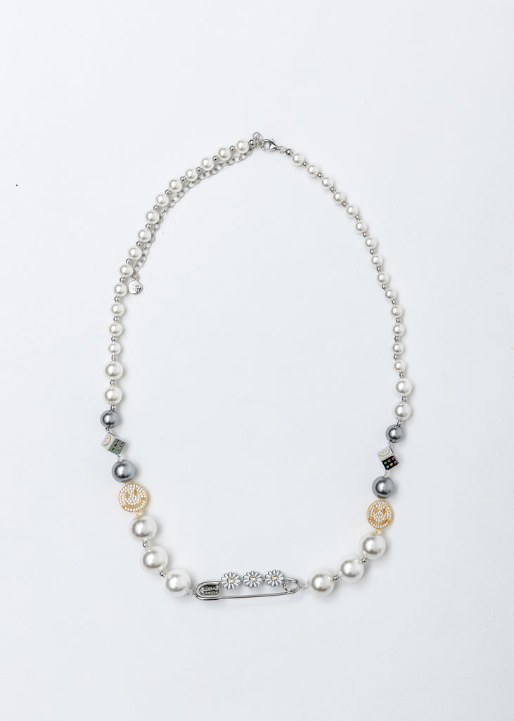 Crystal Daisy Pin Smile Face Pearl Necklace