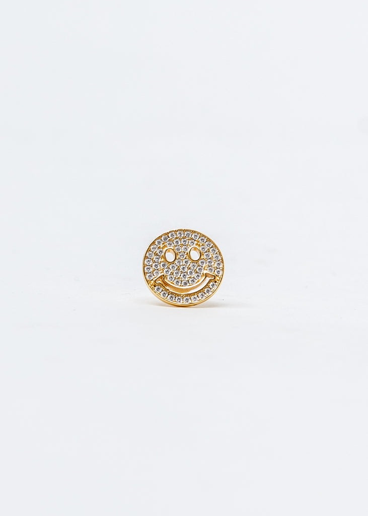 Gold And Rhinestone Smile Face Earring (Single)
