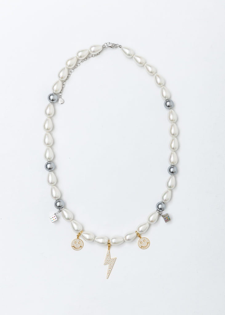 Pearl Smile Face Flash Necklace