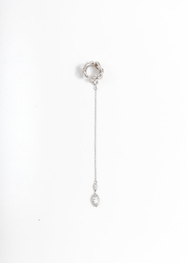 Silver Nashash Mini With Ruby Drop Ear Cuff