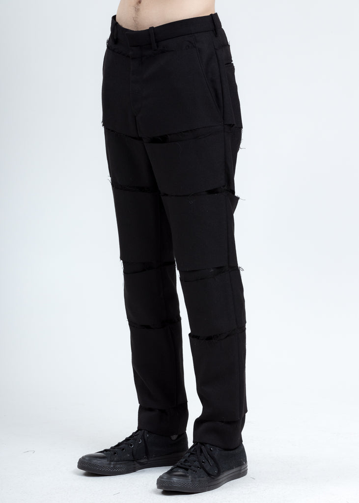 Black Distressed Trousers