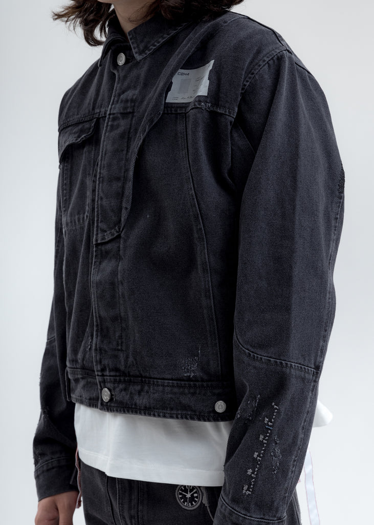 Black Distressed Chaotic Denim Jacket