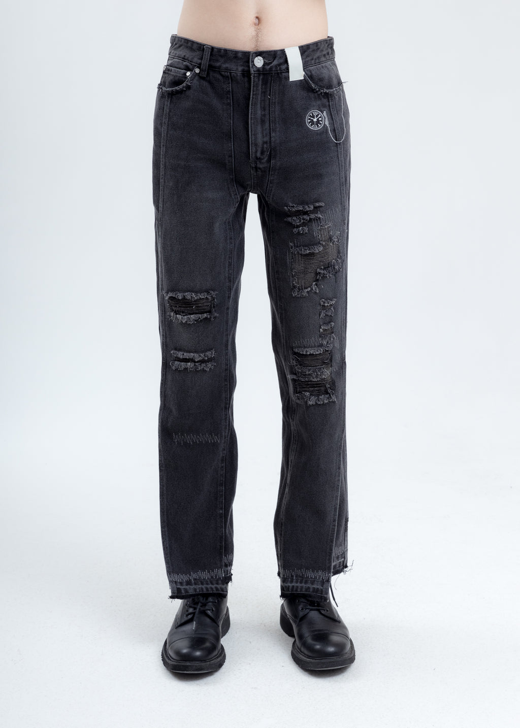Black Distressed Chaotic Denim Jeans