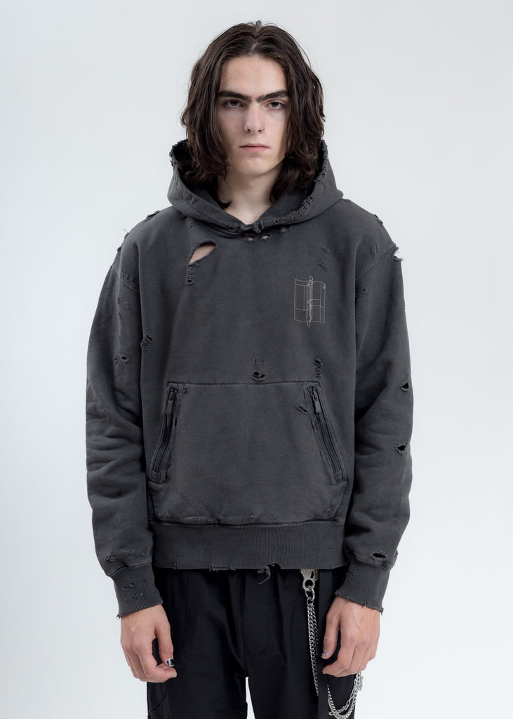 Black Distressed Sculpture Print Hoodie