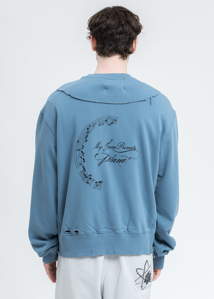 Blue Distressed Panelled Crewneck