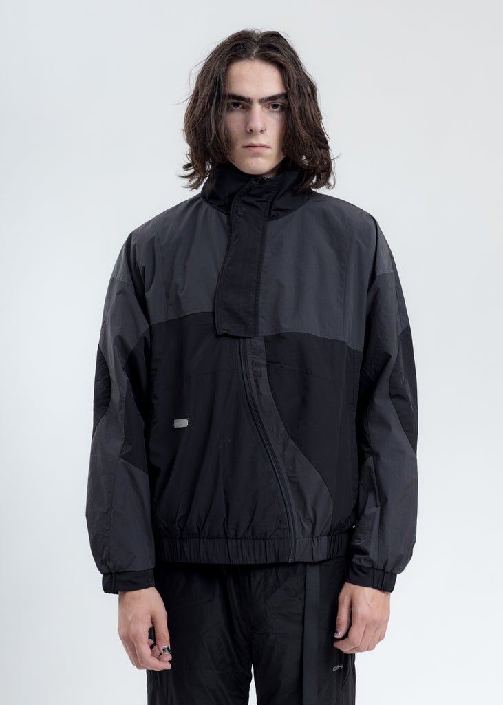 Dark Grey Intervein Paneled Track Jacket