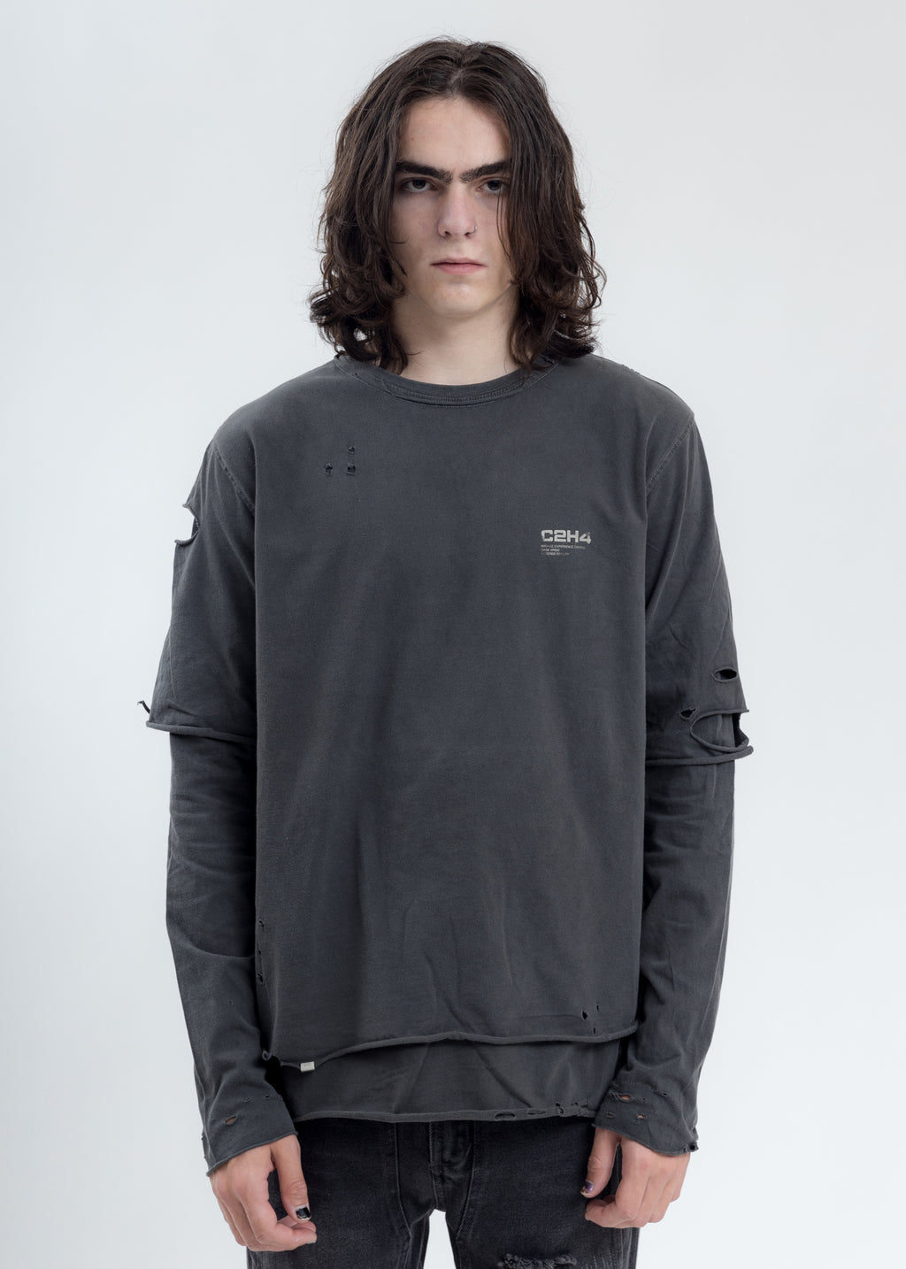 Grey Distressed Double Layer Logo Long Sleeves T-Shirt