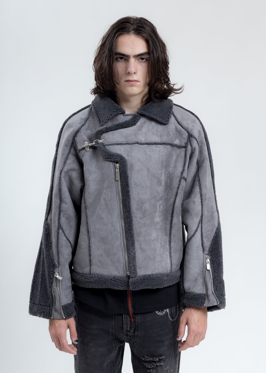 Grey Paneled Streamline Shearling Jacket