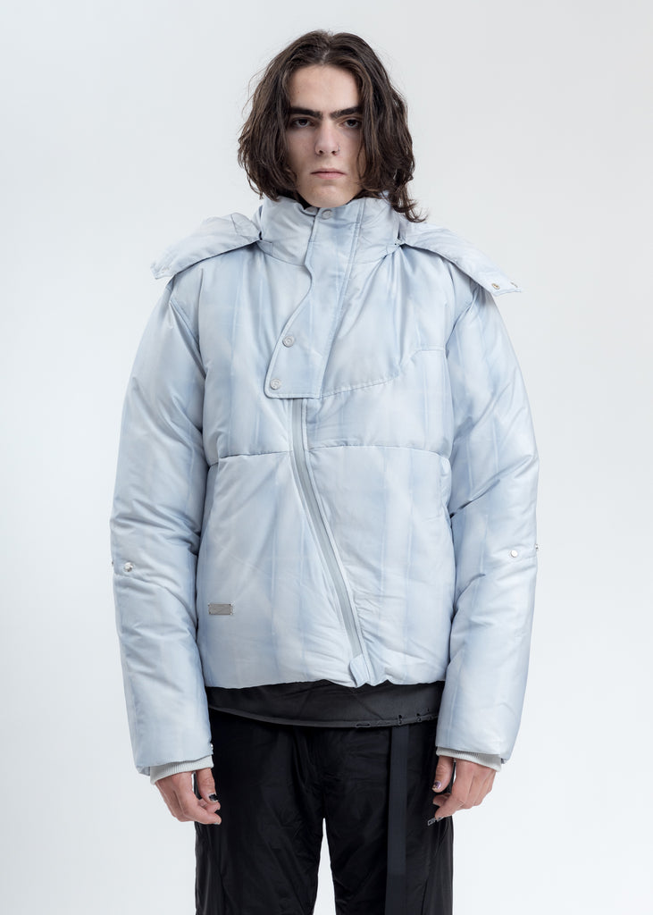 Light Grey Arc Sculpture Puffer Jacket