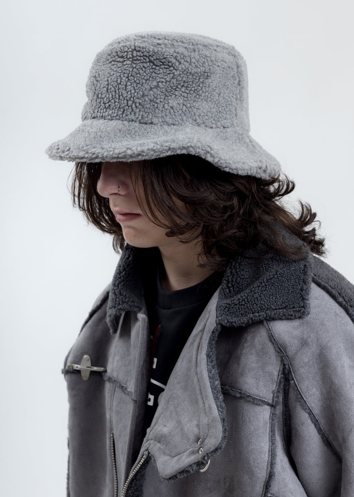 Light Grey Fleece Bucket Hat