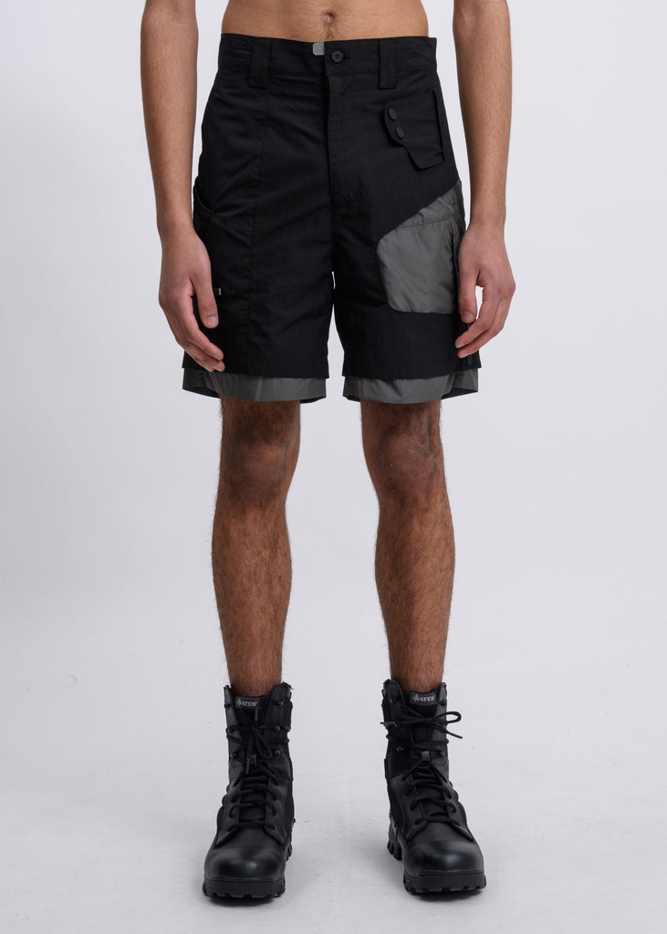 Black Crooked Double Layered Tactical Shorts
