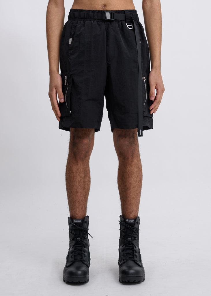 Black Side Pockets Track Shorts