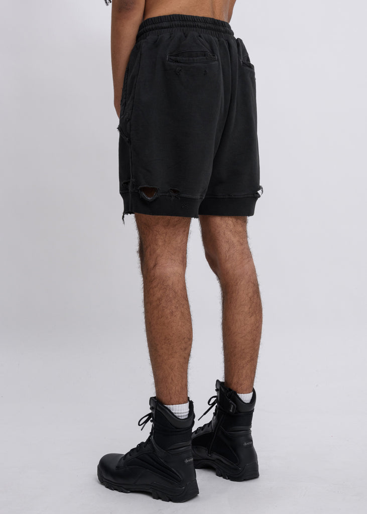 Charcoal Ruin Distressed Sweat Shorts
