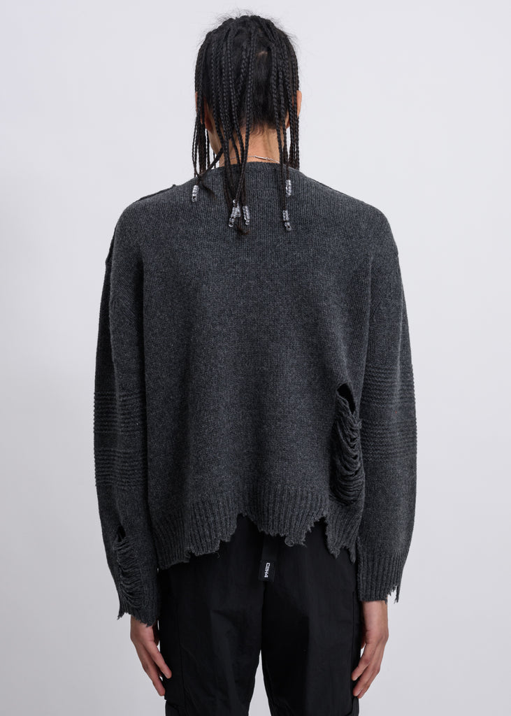 Grey Vagrant Ruin Distressed Wool Sweater