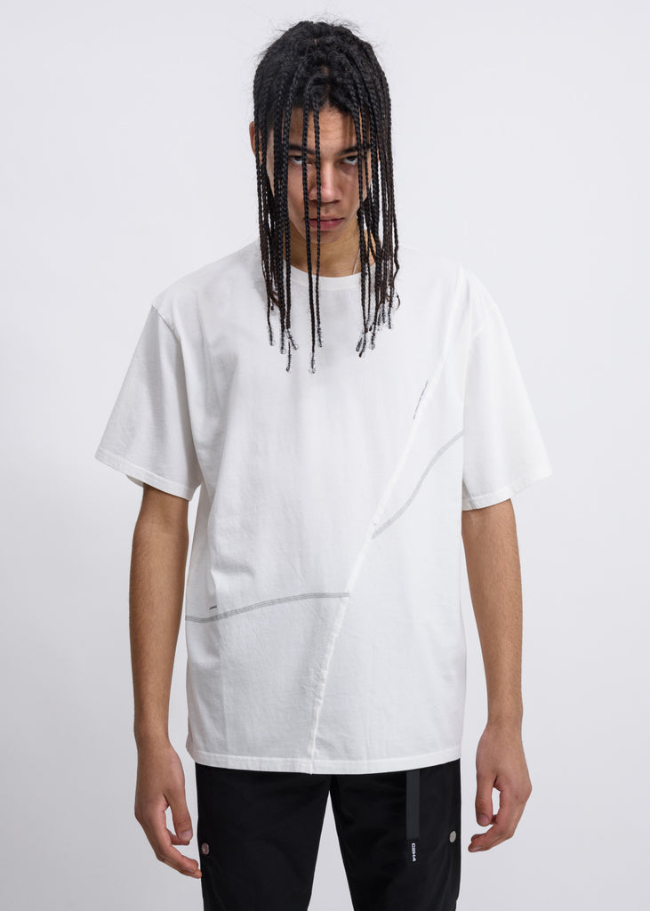 White  Crooked Panelled T-Shirt