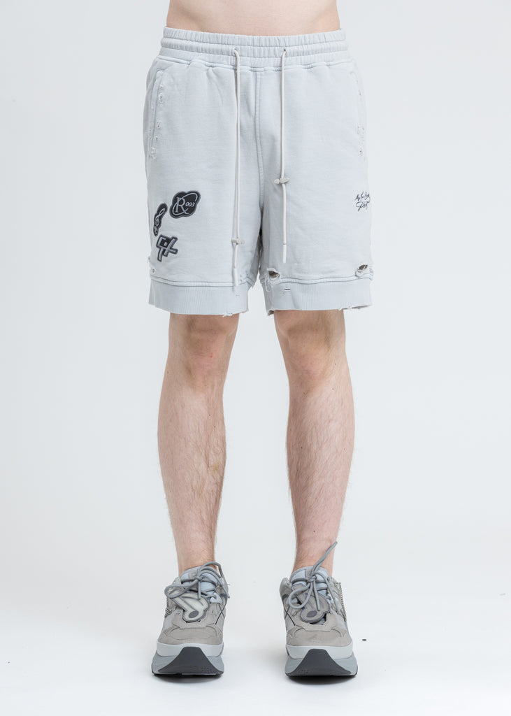 White Patched Ruin Distressed Sweat Shorts