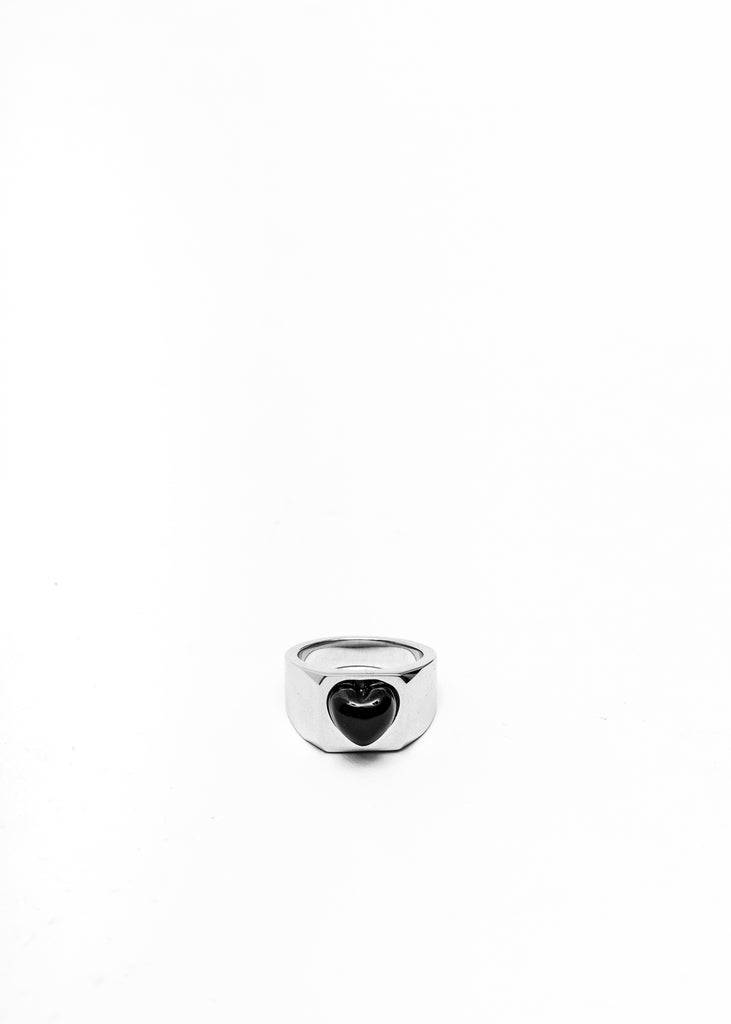 Silver Black Heart Shape Ring