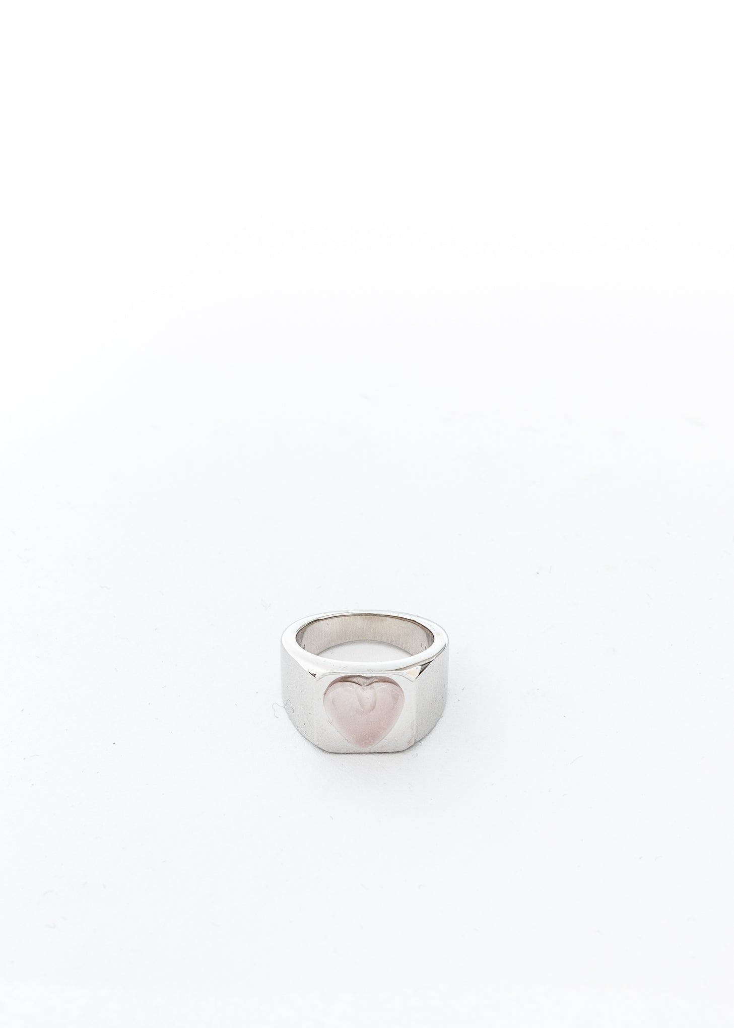 Silver Pink Heart Shape Ring