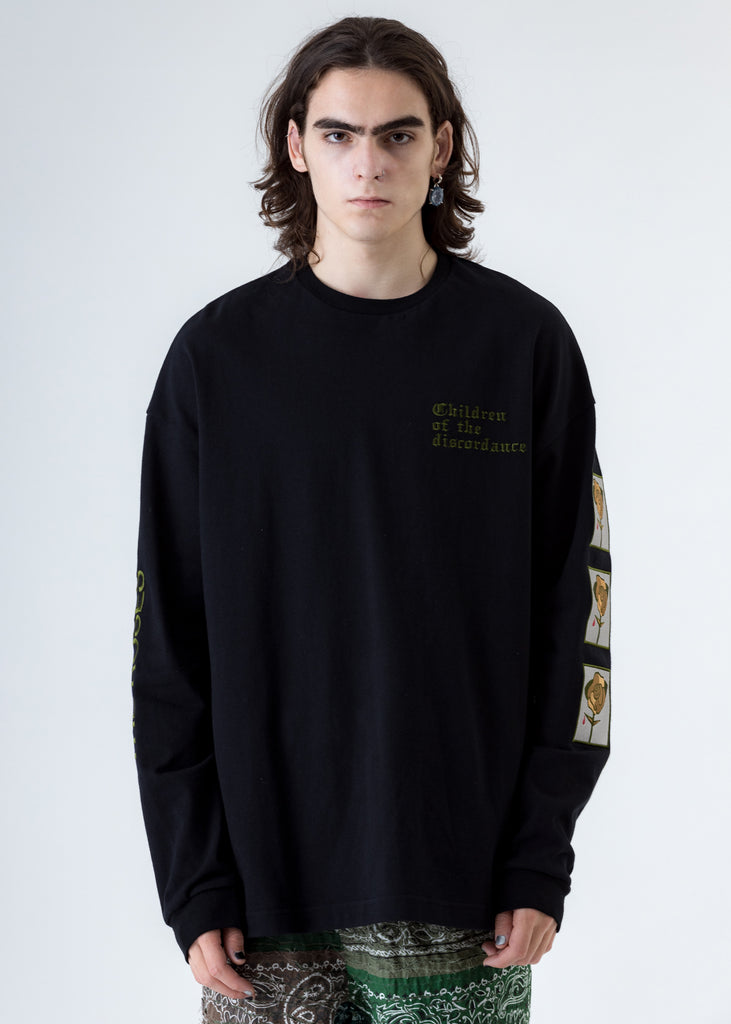Black Sastr Rose Embroidery Long Sleeves