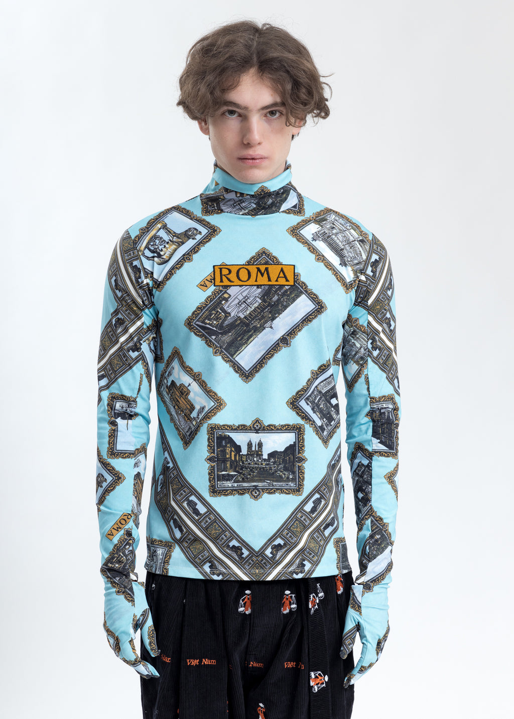 Roma Scarf Printed Long Sleeve Shirt