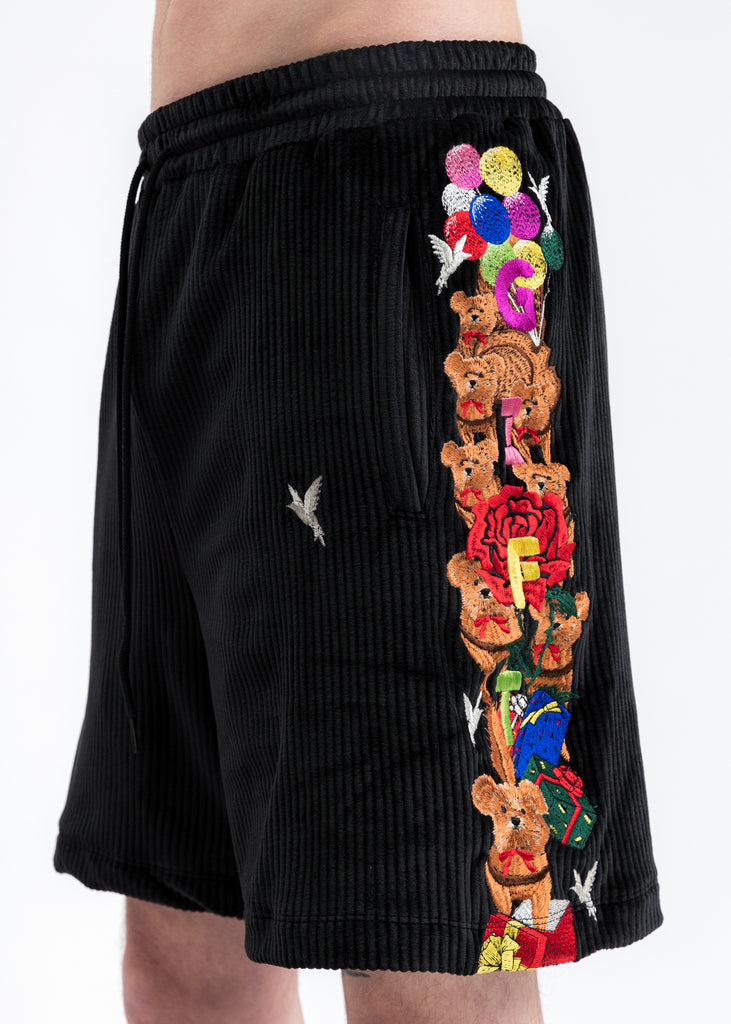 Black Chaos Embroidery Comfy Shorts
