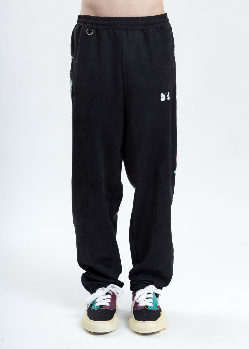 Black Chaos Embroidery Suede Track Pants