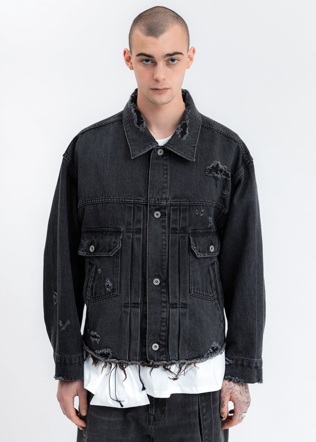 Black Damaged Silk Denim Jacket