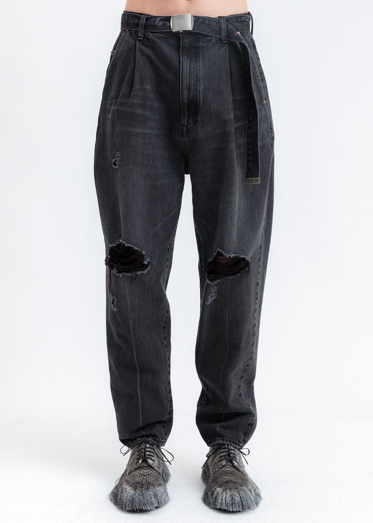 Black Damaged Silk Denim Pants