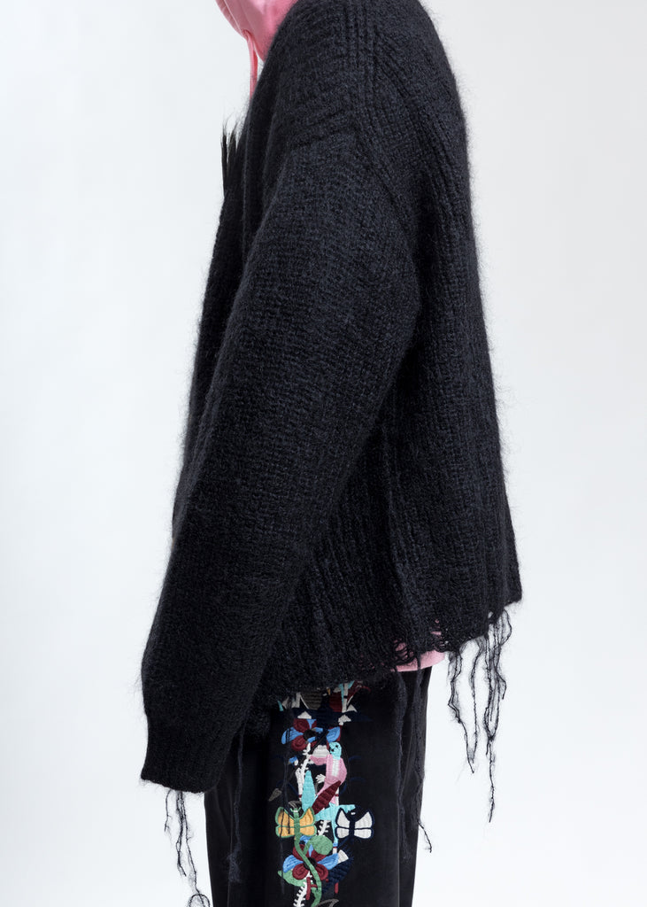 Black Doll Embroidery Mohair Cardigan