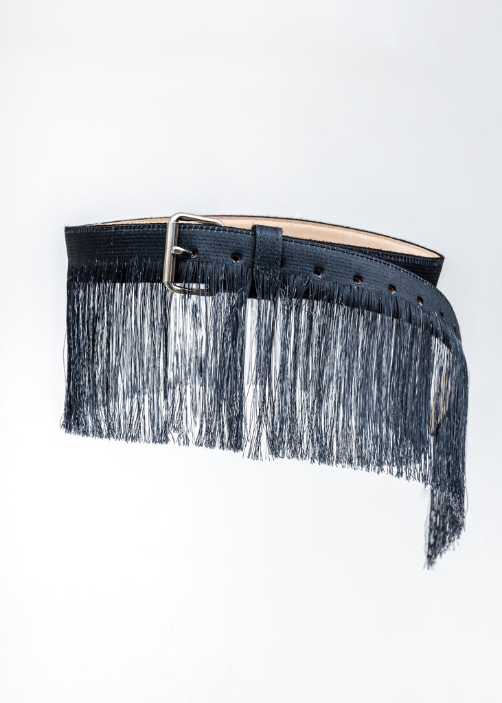 Black Fringe Embroidery Belt