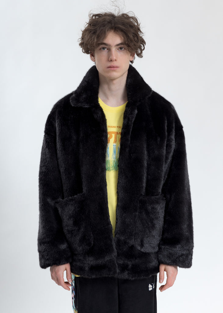 Black Hand-Painted Fur Jacket