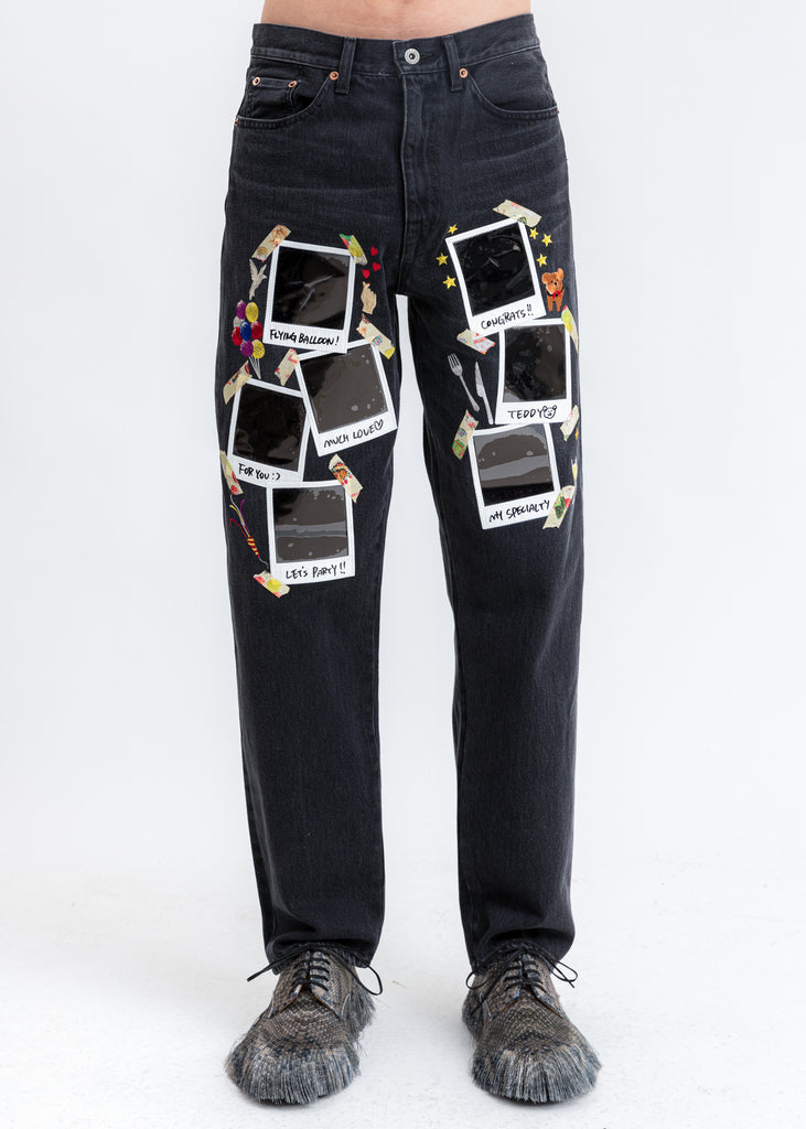 Black Memorial Polaroid Denim Pants