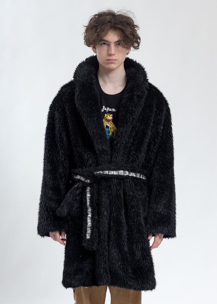 Black Spike Fur Long Coat