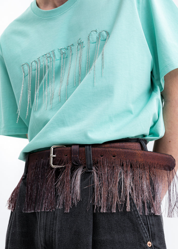 Brown Fringe Embroidery Belt